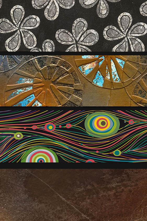 Alcune finiture materiche realizzate con resine. Speciale finitura offerta da Saletti'S, personalizzabile in ogni suo aspetto.