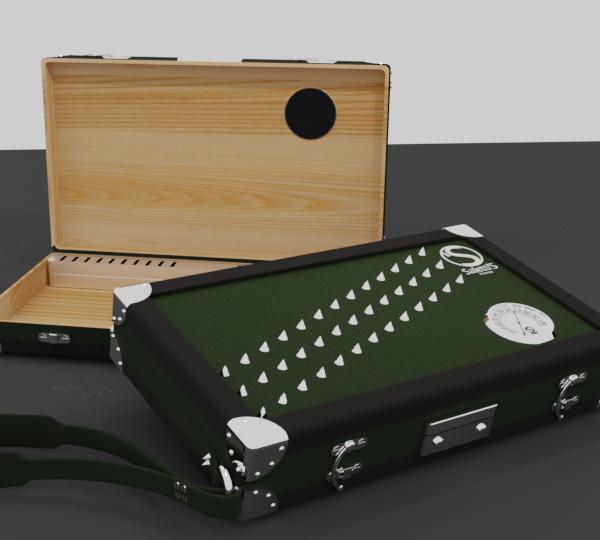 Scatola per sigari portatile con igrometro esterno e borchie sul coperchio.