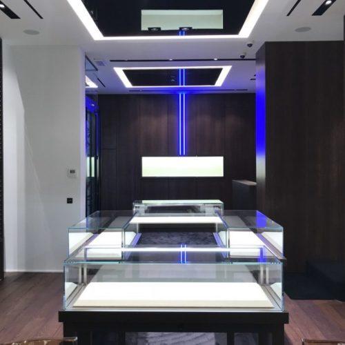Vista interna della boutique Franck Muller a Bruxelles
